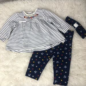3/$20 Little Me Stripped & Floral Outfit Set 9M
